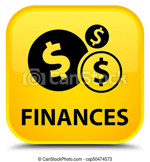 Finances (dollar sign) special yellow square button - csp50474573
