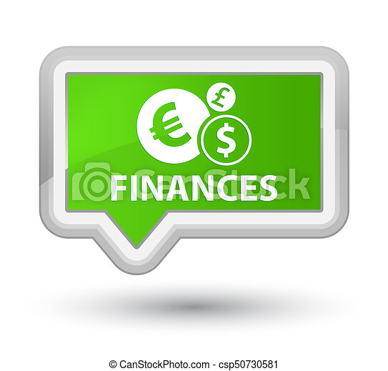 Finances (euro sign) prime soft green banner button - csp50730581
