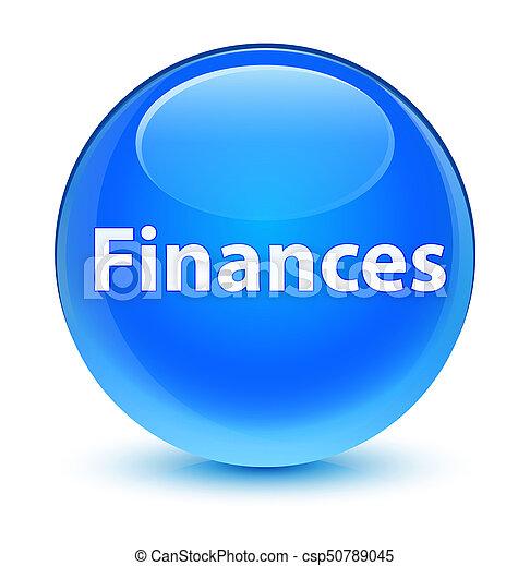 Finances glassy cyan blue round button - csp50789045