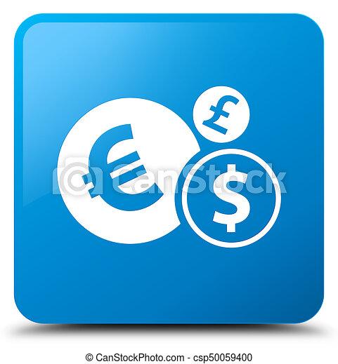 Finances icon cyan blue square button - csp50059400