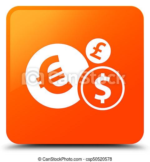 Finances icon orange square button - csp50520578