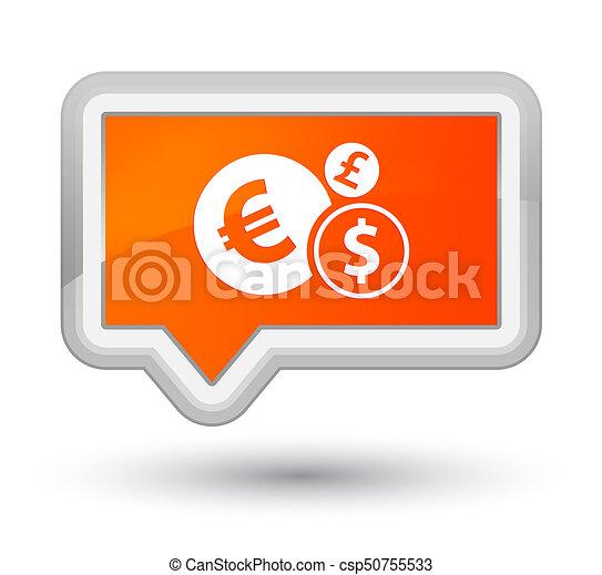 Finances icon prime orange banner button - csp50755533