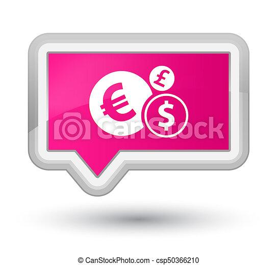 Finances icon prime pink banner button - csp50366210