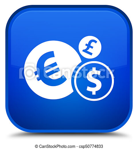 Finances icon special blue square button - csp50774833