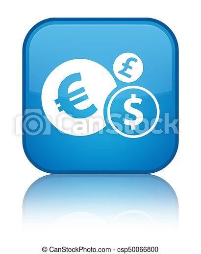 Finances icon special cyan blue square button - csp50066800