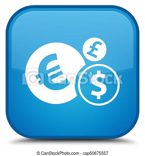 Finances icon special cyan blue square button - csp50675557