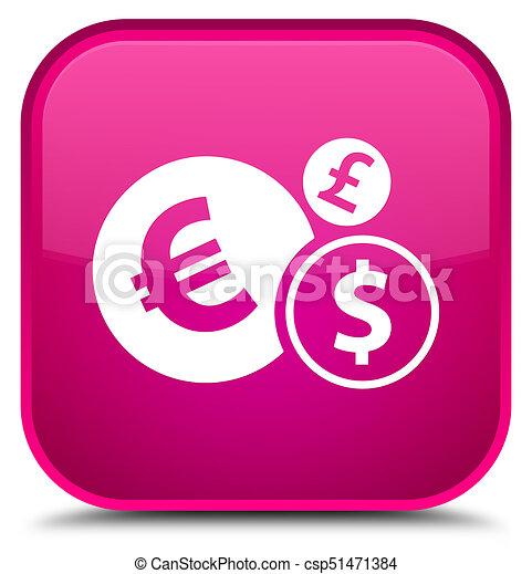 Finances icon special pink square button - csp51471384