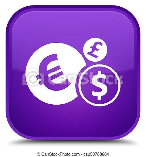 Finances icon special purple square button - csp50788684