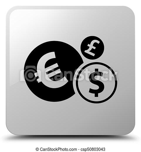 Finances icon white square button - csp50803043