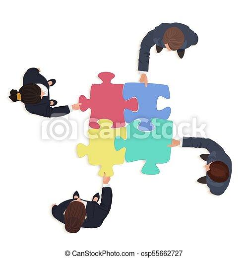 financiën, zakenlui, raadsel, jigsaw, oplossing, pieces., team, concept. - csp55662727