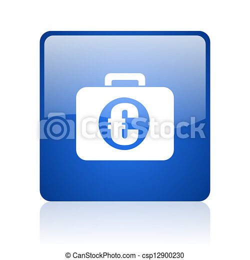 financial blue square glossy web icon on white background - csp12900230