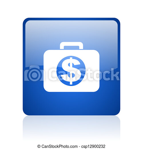 financial blue square glossy web icon on white background - csp12900232
