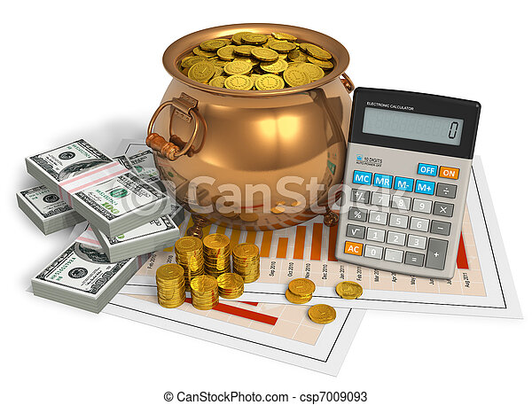 Financial concept: pot of gold, calculator and dollars - csp7009093