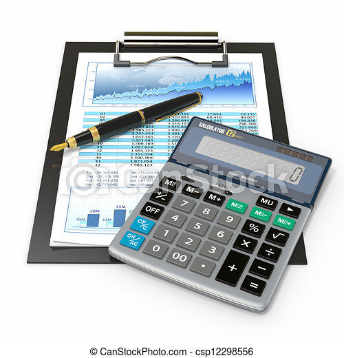 Financial concept. Stock chart, calculator and pen. - csp12298556