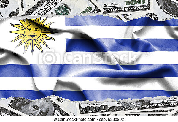 Financial concept with banknotes of US currency around national flag of Uruguay - csp76338902