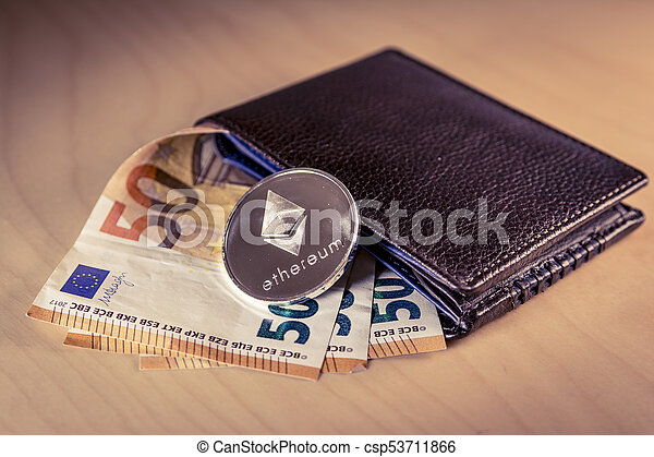 Financial Concept With Physical Bitcoin And Ethereum Over A Wallet Euro Bills Stock Photo