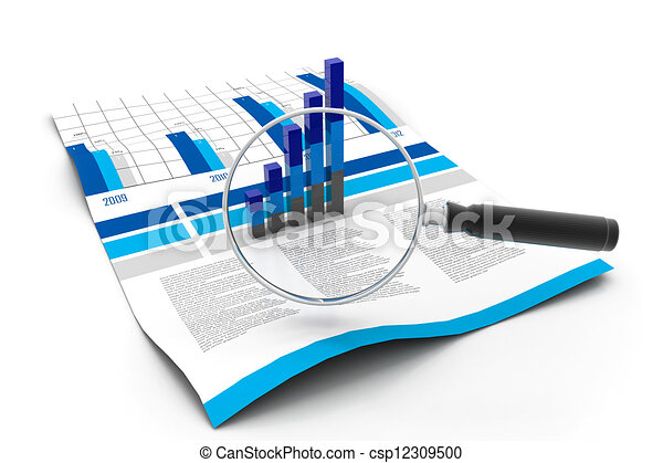 Financial data and magnifying glass - csp12309500