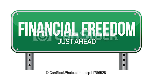 financial freedom street sign - csp11786528