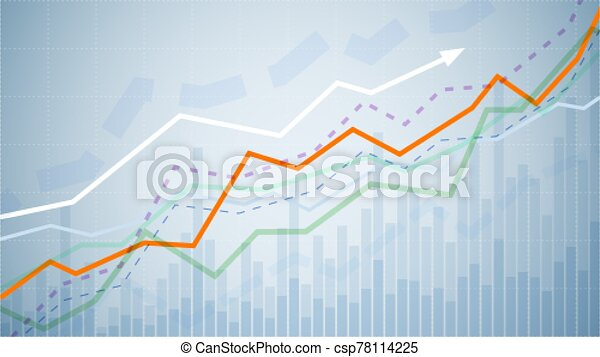 Financial graph chart. Business data analytics. Monitoring finance profit and statistic. Graph chart of stock market investment trading. Abstract analisys and statistic diagram. vector illustration - csp78114225