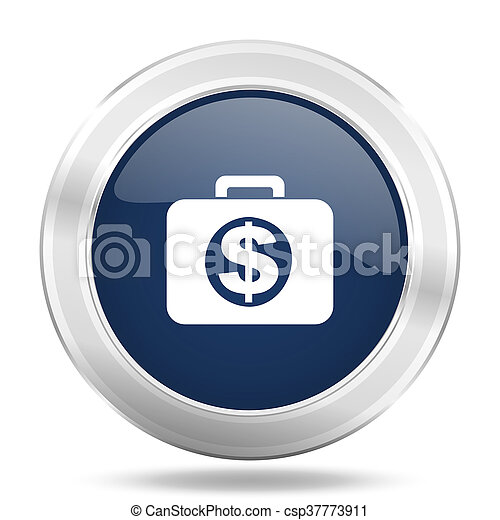financial icon, dark blue round metallic internet button, web and mobile app illustration - csp37773911