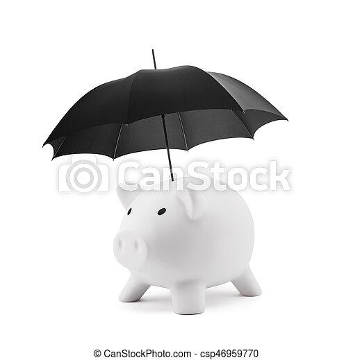 Financial insurance. White piggy bank with umbrella - csp46959770