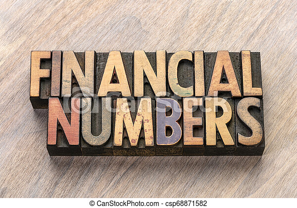 financial numbers in letterpress wood type - csp68871582