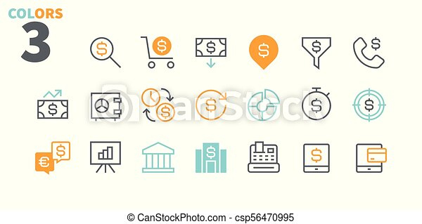 Financial Pixel Perfect Well-crafted Vector Thin Line Icons 48x48 Ready for 24x24 Grid for Web Graphics and Apps with Editable Stroke. Simple Minimal Pictogram Part 1 - csp56470995