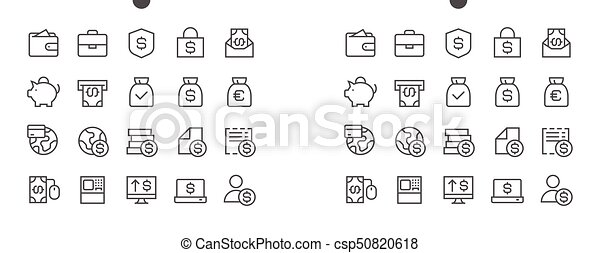 Financial Pixel Perfect Well-crafted Vector Thin Line Icons 48x48 Ready for 24x24 Grid for Web Graphics and Apps with Editable Stroke. Simple Minimal Pictogram - csp50820618