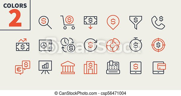 Financial Pixel Perfect Well-crafted Vector Thin Line Icons 48x48 Ready for 24x24 Grid for Web Graphics and Apps with Editable Stroke. Simple Minimal Pictogram Part 1 - csp56471004