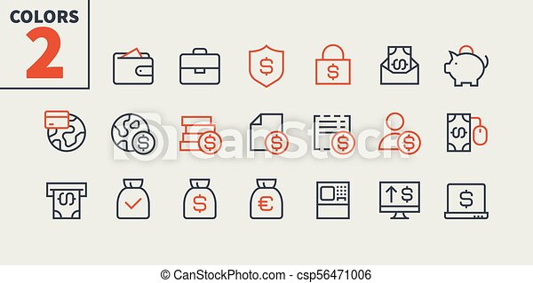 Financial Pixel Perfect Well-crafted Vector Thin Line Icons 48x48 Ready for 24x24 Grid for Web Graphics and Apps with Editable Stroke. Simple Minimal Pictogram Part 2 - csp56471006