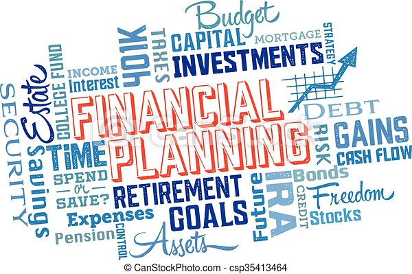 financial planning word collage word cloud and icons for financial