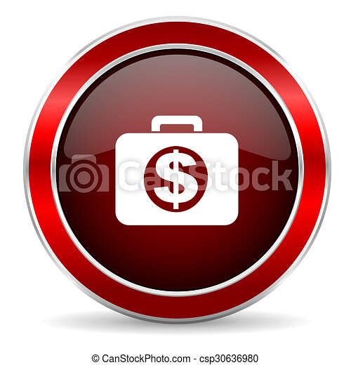 financial red circle glossy web icon, round button with metallic border - csp30636980