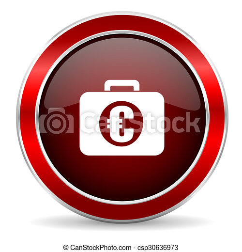 financial red circle glossy web icon, round button with metallic border - csp30636973