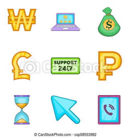 Financial support icons set, cartoon style - csp58553982