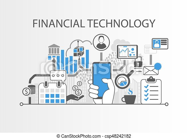 Financial Technology / Fin-Tech concept vector background with hand holding smartphone - csp48242182