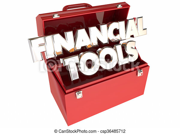 Financial Tools Money Budget Advice Tips Resources 3d Words Toolbox - csp36485712