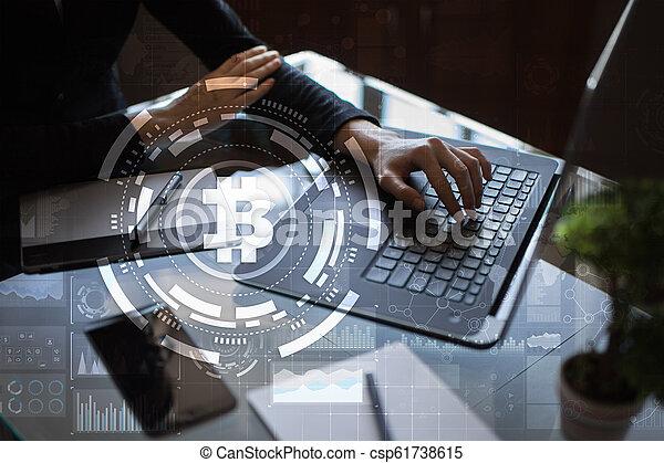 financier, argent, concept., bitcoin, numérique, cryptocurrency., technologie, commerce, marché - csp61738615
