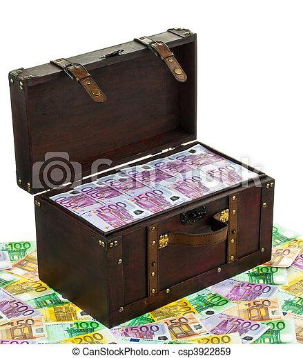 financier, billets banque., poitrine, debt., crise, euro - csp3922859