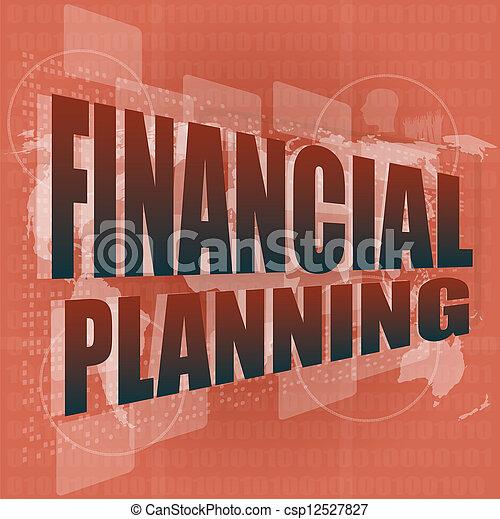 financier, business, écran, planification, mots, numérique, concept: - csp12527827