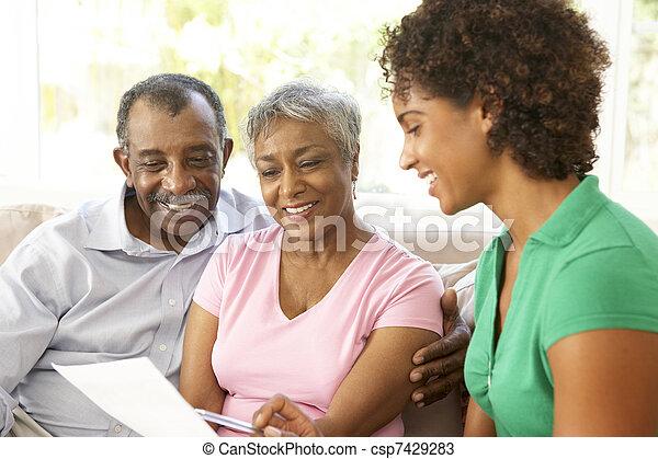 financier, couple parler, conseiller, maison, personne agee - csp7429283