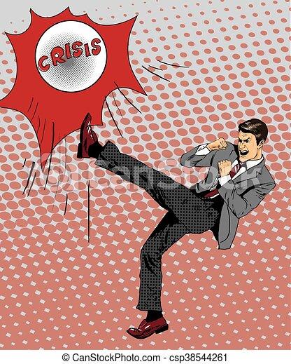 financier, illustration, style., donner coup pied, pop, vecteur, combat, homme affaires, art, comique, homme, crise, ball., retro - csp38544261