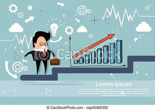 Los empresarios escalan el gráfico financiero del hombre de negocios - csp43465392