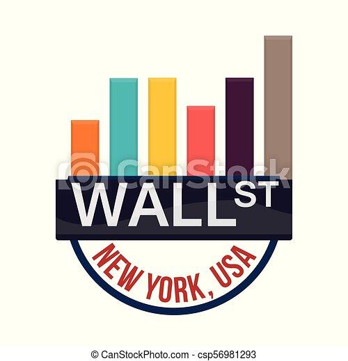 Wall Street New York gráficos financieros - csp56981293