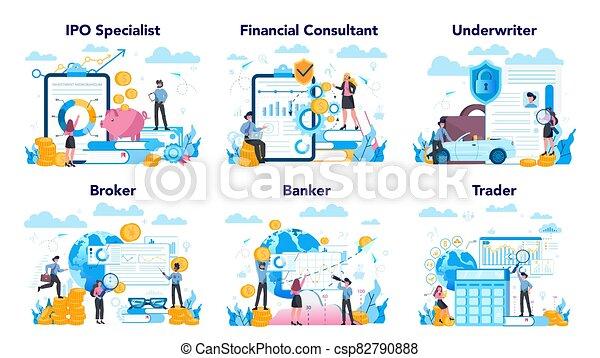 financiero, idea, set., acción, profesión, mercado, inversión, finanzas - csp82790888