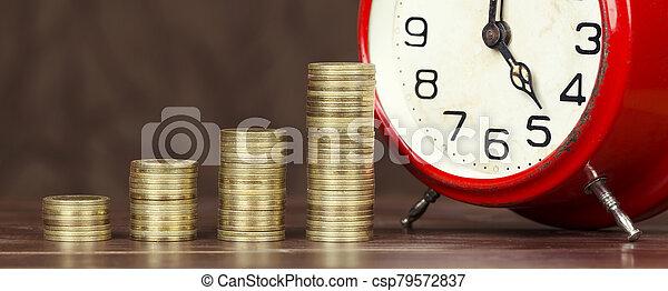 financiero, reloj, alarma, libertad, coins, tela, bandera, dinero - csp79572837