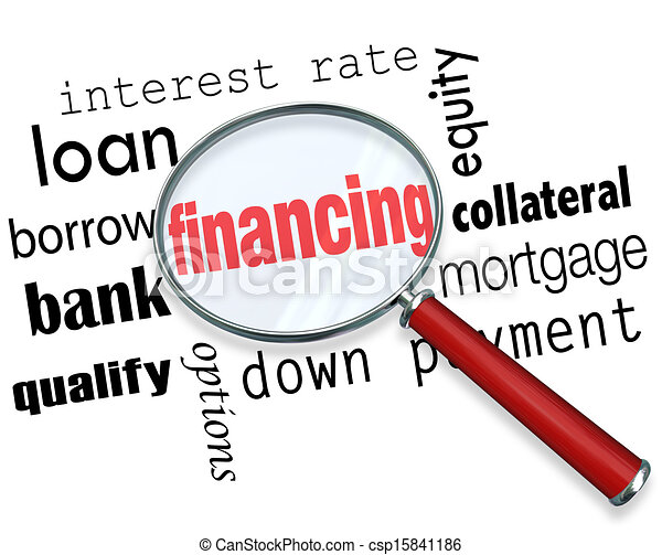 Financing Magnifying Glass Words Load Mortgage - csp15841186