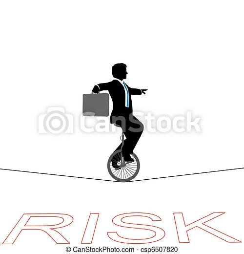 finansowe ryzyko, handlowy, na, linoskoczek, unicycle, człowiek - csp6507820