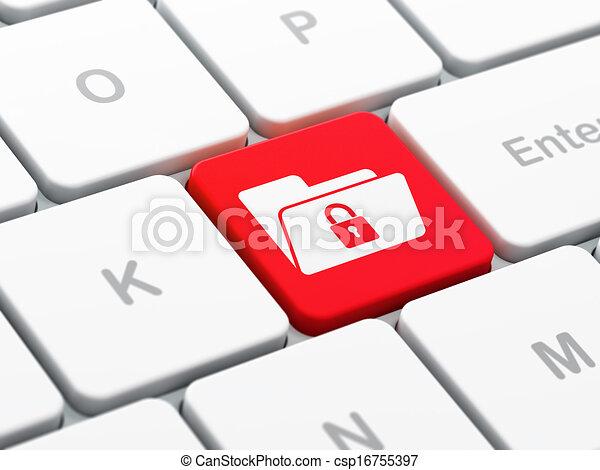 Concepto financiero: carpeta con cerradura en el teclado del ordenador - csp16755397