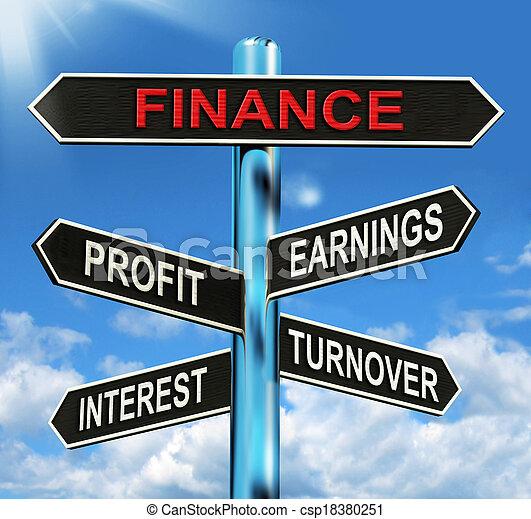 finanzas, ganancia, poste indicador, ganancias, interés, exposiciones, volumen de ventas - csp18380251