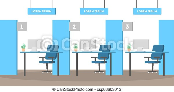 Interior de la oficina del banco. Habitación vacía. Servicio financiero - csp68603013